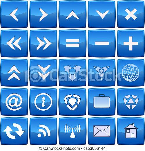 blauwe , abstract, vector, set, pictogram - csp3056144