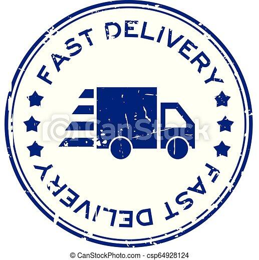 blauwe , aflevering, grunge, postzegel, vasten, rubber, vrachtwagen, achtergrond, zeehondje, witte , ronde, pictogram - csp64928124