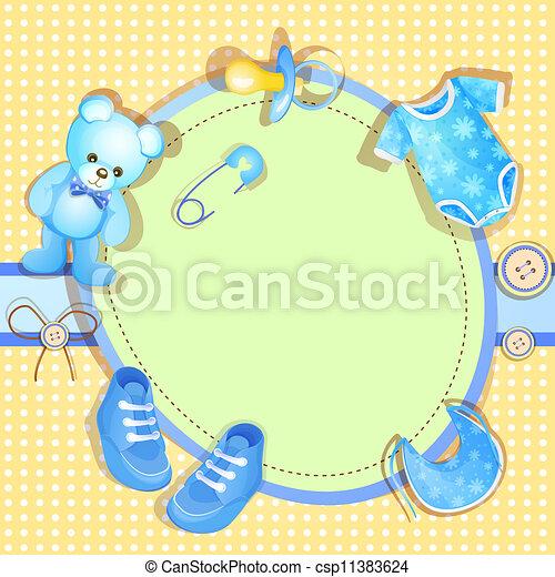 blauwe , baby stortbad, kaart - csp11383624