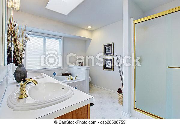 Blauwe , badkamer, licht, walls., groot, meester. Blauwe ...