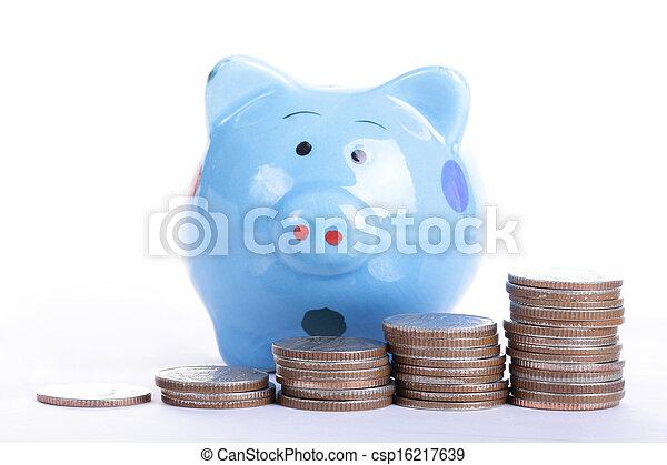 blauwe , bank, piggy - csp16217639