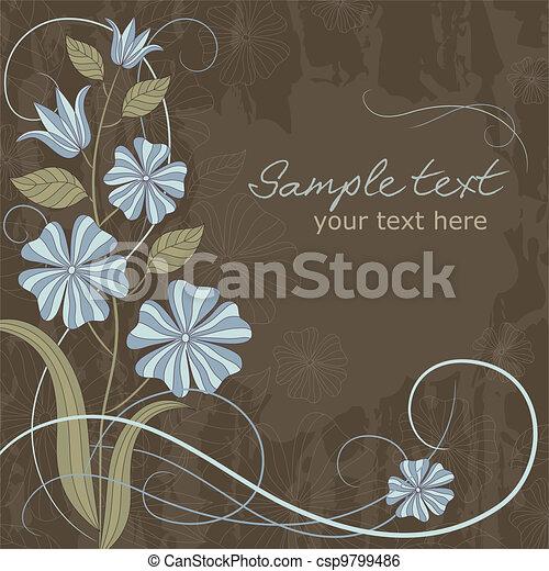 blauwe bloemen, begroetende kaart - csp9799486