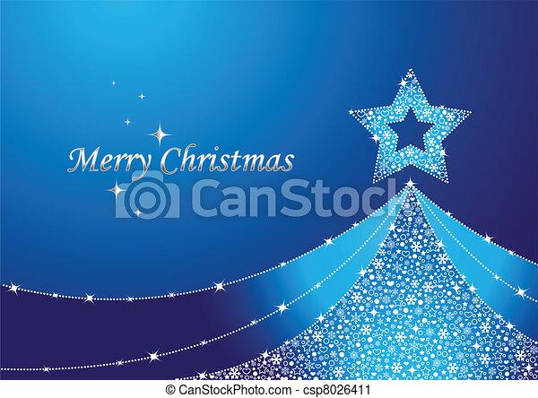 blauwe , boompje, kerstmis - csp8026411