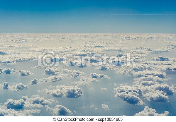 blauwe , bovenleer, lagen, hemel, wolken, atmosphere. - csp18054605