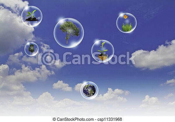 blauwe , concept, zakelijk, punt, eco, zon, hemel, tegen, hand, boompje, bloem, aarde, bellen, : - csp11331968