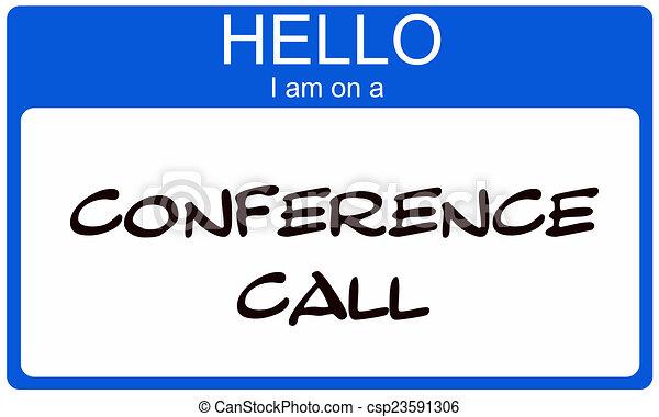 blauwe , conferentie, noem etiket, roepen, hallo - csp23591306