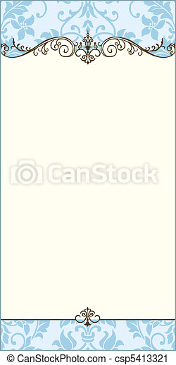 blauwe , decoratief, frame, vector, leeg - csp5413321
