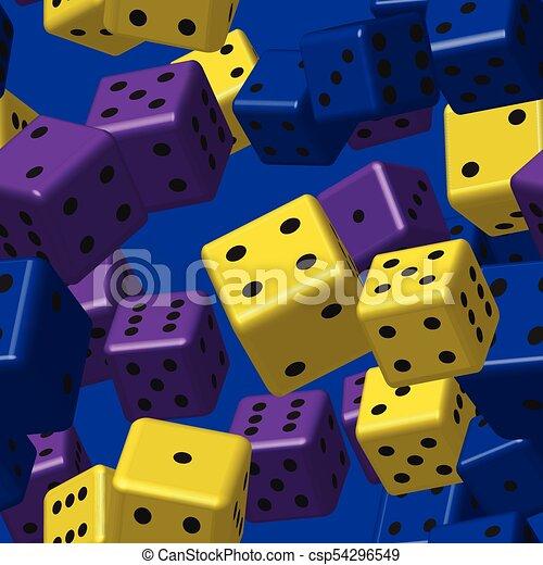blauwe , dobbelsteen, paarse , model, seamless, gele - csp54296549