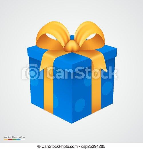blauwe doos, gouden, kado, ribbon. - csp25394285
