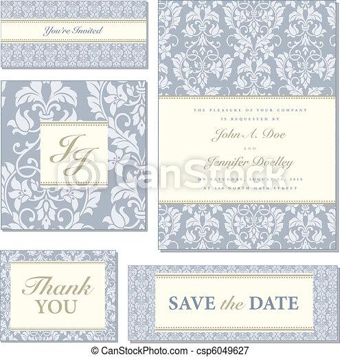 blauwe , frame, vector, set, sierlijk - csp6049627