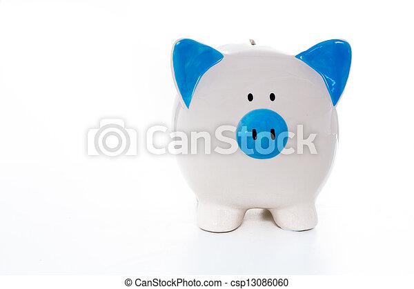 blauwe , geverfde, hand, piggy, witte , bank - csp13086060
