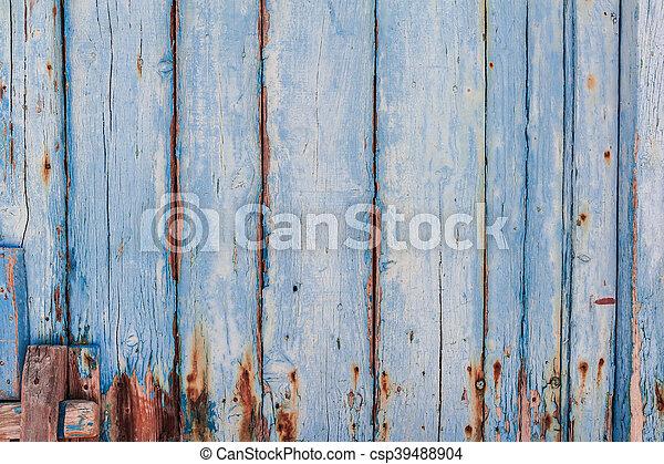 blauwe , geverfde, hout samenstelling, paneel - csp39488904