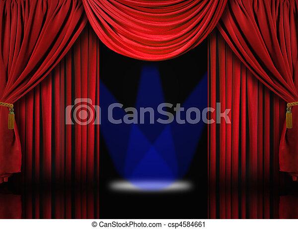 Blauwe , gordijnen, draperen, theater, schijnwerpers, fluweel ...