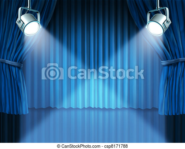 Blauwe , gordijnen, fluweel, schijnwerpers, bioscoop. Blauwe ...