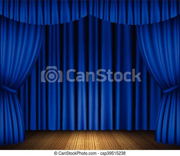 Blauwe , gordijnen, open. Blauwe , gordijnen, houten, illustratie ...