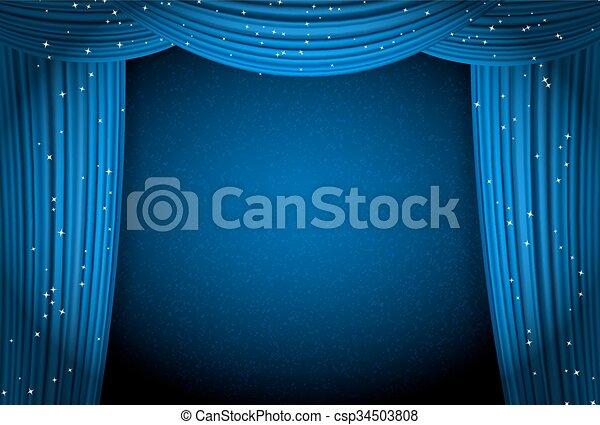 Blauwe , gordijnen, theater, ruimte, presentatie, bioscoop ...
