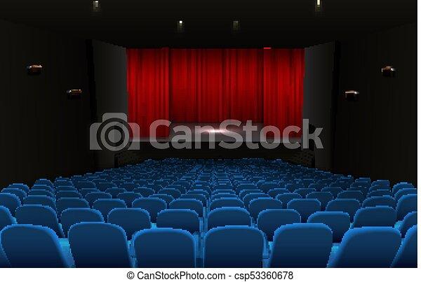 Blauwe , gordijnen, theater zitplaatsen, rood, toneel. Blauwe ...