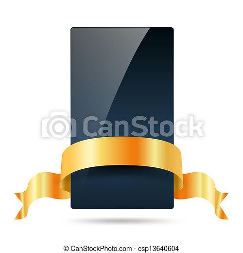 blauwe , gouden, donker, lint, kaart - csp13640604