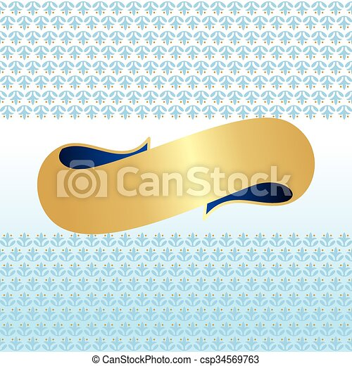 blauwe , gouden, lint, & - csp34569763