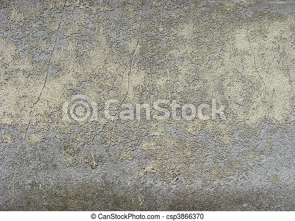 Blauwe grijs muur schillen versleten verf gele vieze