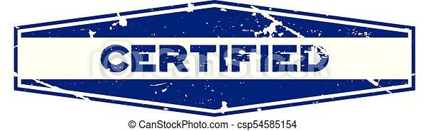 blauwe , grunge, postzegel, rubber, achtergrond, zeehondje, witte , zeshoek, verklaard - csp54585154