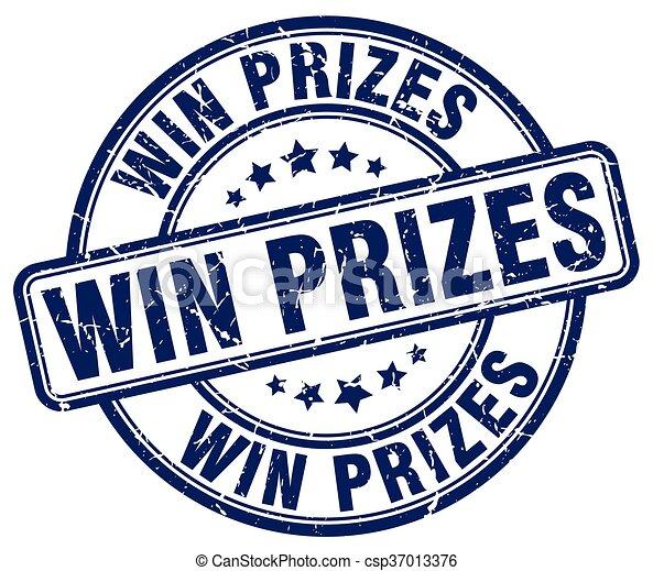 blauwe , grunge, postzegel, winnen, rubber, prijzen, ouderwetse , ronde - csp37013376