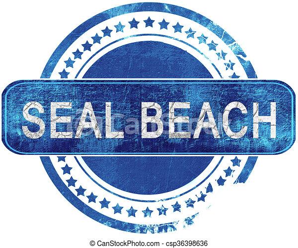 blauwe , grunge, vrijstaand, stamp., white., bezegelen strand - csp36398636