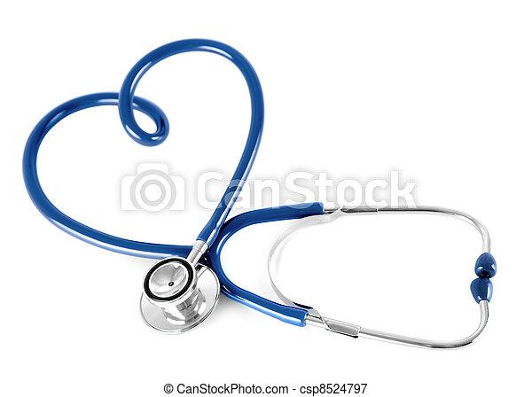 blauwe , hart, vrijstaand, vorm, stethoscope, witte  - csp8524797