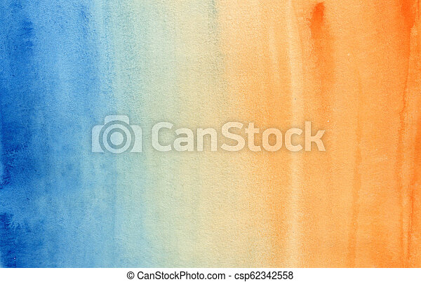 blauwe , helling, horizontaal, watercolor, sinaasappel - csp62342558