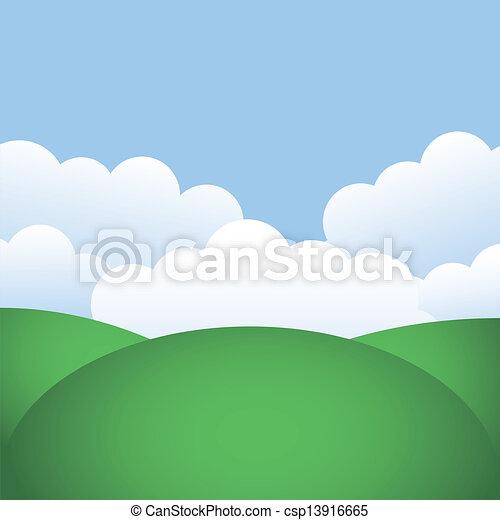 blauwe hemel, heuvels - csp13916665