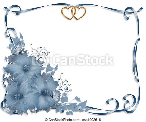 blauwe hibiscus, trouwfeest, grens, uitnodiging - csp1902616