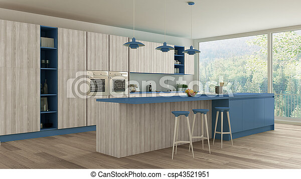 Keuken Interieur Scandinavisch : Blauwe houten scandinavische details ontwerp minimalistic