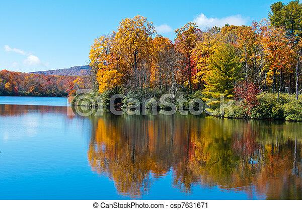 blauwe kam, prijs, weerspiegelde, oppervlakte, meer, gebladerte, herfst, snelweg - csp7631671