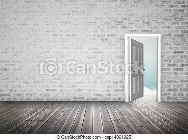 Blauwe kamer opening muur hemel grijze deuropening