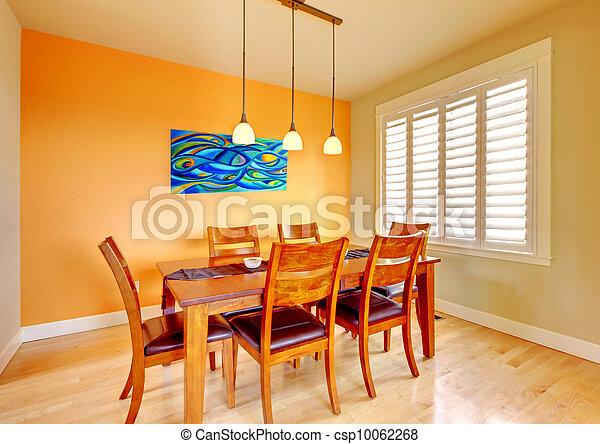 blauwe , kamer, schilderij, het dineren, hout, tafel. - csp10062268