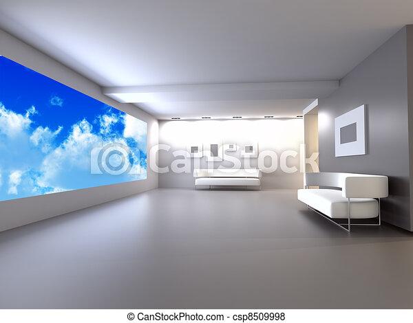 Blauwe kamer sofa hemel venster tonen licht open