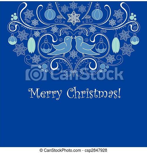 blauwe , kerstmis kaart - csp2847928