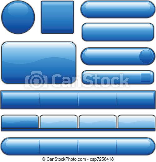 blauwe knopen, glanzend, internet - csp7256418