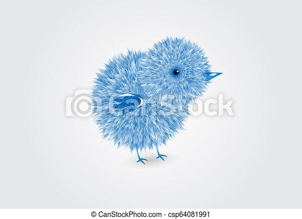 blauwe , kuiken, vector, ontwerp, logo - csp64081991