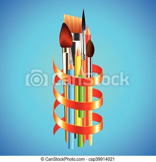 blauwe , kunst, lint, achtergrond, verpakte, gereedschap, rood - csp39914021