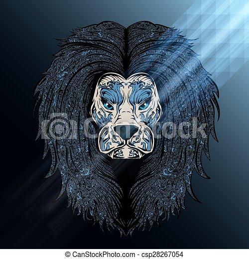 blauwe , leeuw, maan - csp28267054