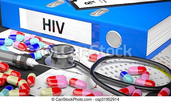 blauwe , medicaments, medisch, supplies., arts, tafel, map - csp31952914