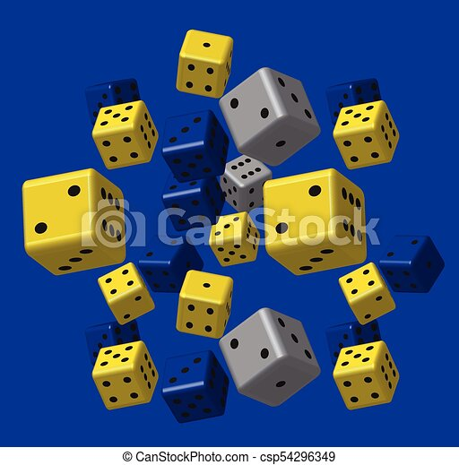 blauwe , model, grijze , gele, dobbelsteen - csp54296349