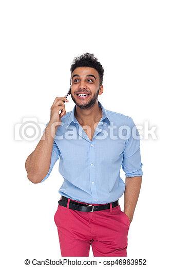 blauwe , mooi, blik, zakelijk, ruimte, hemd, op, cel telefoongesprek, slijtage, man, smart, zakenman, kopie, glimlachen, vrolijke  - csp46963952