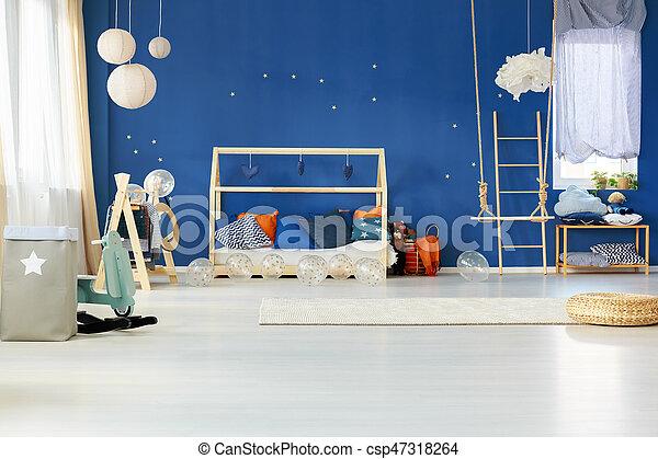 Slaapkamer Blauwe Muur : Blauwe muur dromerig slaapkamer blauwe muur woning slaapkamer