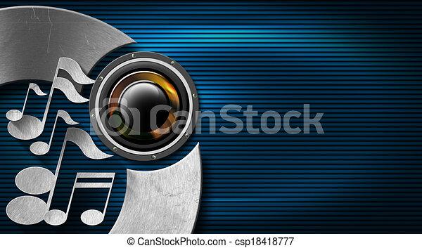 blauwe , muziek, metaal, kaart, zakelijk - csp18418777
