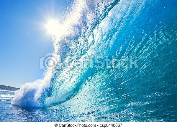 blauwe oceaan, golf - csp8448867