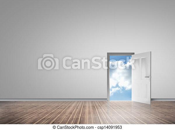 Blauwe onthullen deur opening zonnig hemel blauwe