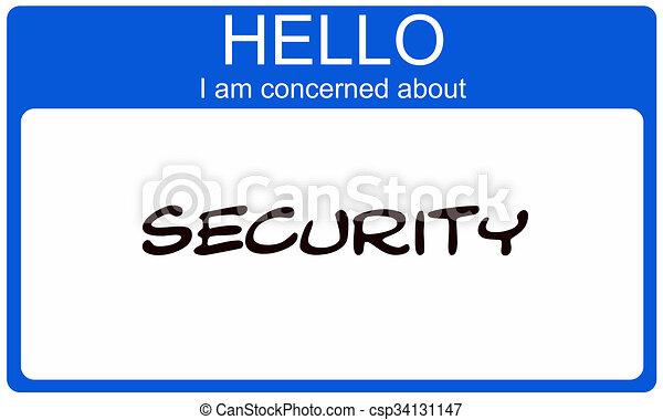 blauwe , over, naam, betrokken, label, veiligheid, hallo - csp34131147