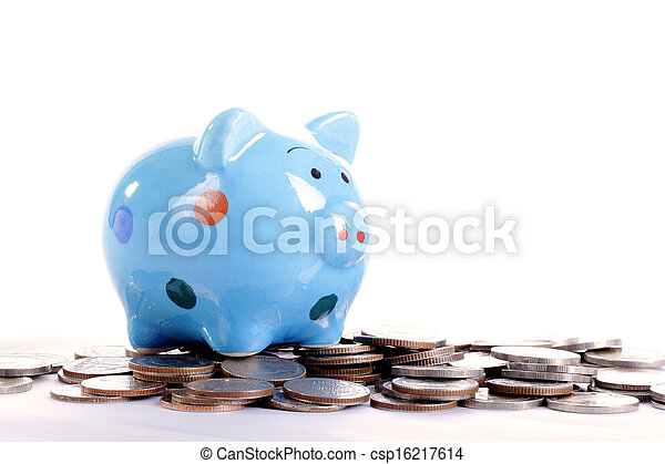 blauwe piggy bank - csp16217614
